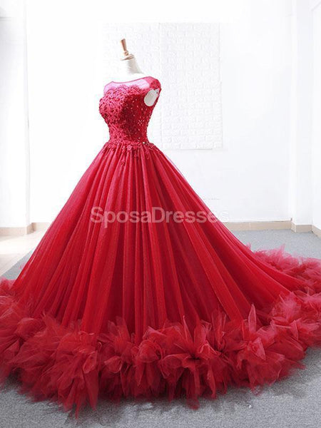 Cap Sleeves Ruffles Red Ball Gown Evening Prom Dresses, Evening Party Prom Dresses, 12265