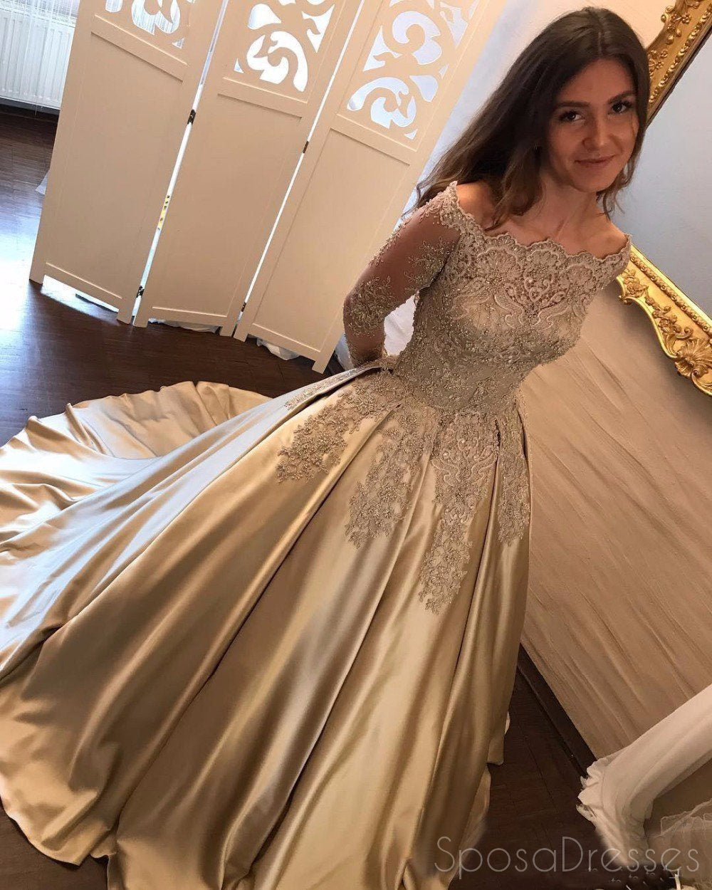 Off Shoulder Long Sleeve Gold A line Sparkly Evening Prom Dresses, Popular Sweet 16 Party Prom Dresses, Custom Long Prom Dresses, Cheap Formal Prom Dresses, 17159