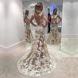 Sexy See Through Lace Mermaid Long Evening Prom Dresses, Popular Cheap Long 2018 Party Prom Dresses, 17292