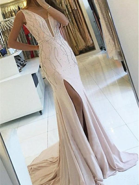 Sexy Backless Side Slit Deep V Neck Mermaid Long Evening Prom Dresses, 17592