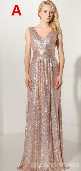 Mismatched Rose Gold Sequin Cheap Bridesmaid Dresses Online, WG777