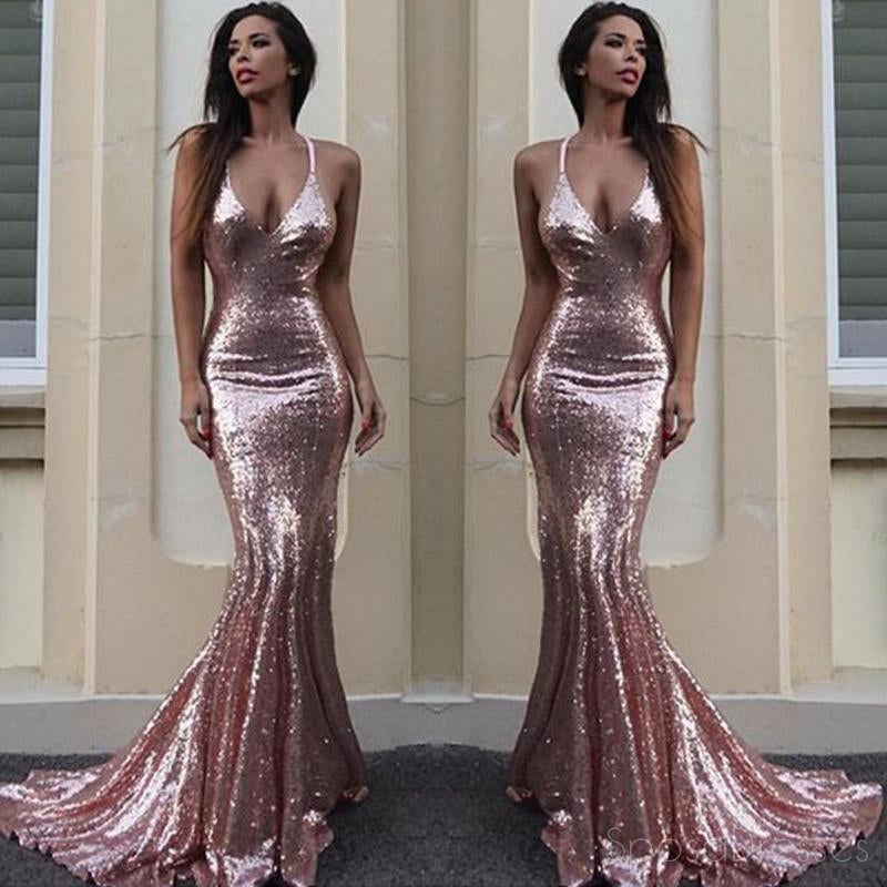 Sexy Backless Rose Gold Sequin Mermaid Evening Prom Dresses Popular