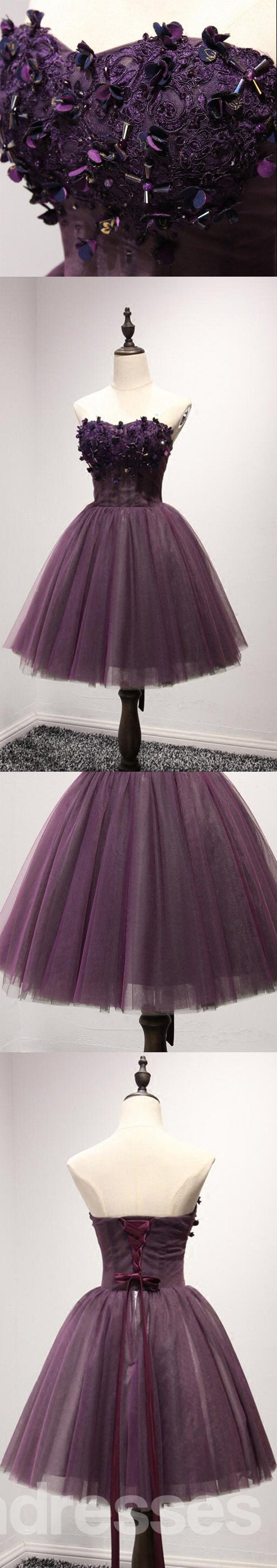 Strapless Purple Lace Homecoming Prom Dresses, Affordable Short Party Corset Back Prom Dresses, Perfect Homecoming Dresses, CM218