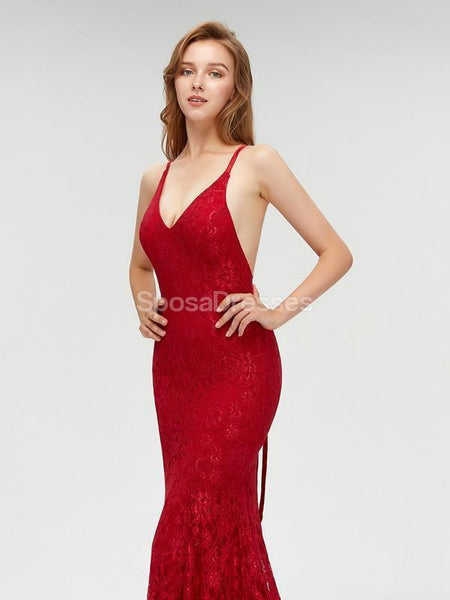 Sexy Backless Maroon Lace Mermaid Long Custom Evening Prom Dresses, 17396