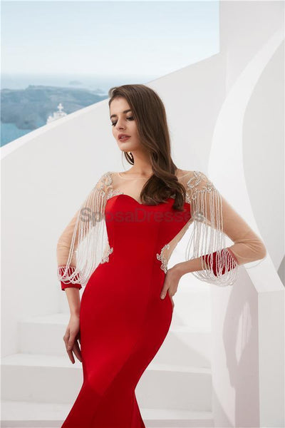Red Long Sleeves See Through Back Beaded Mermaid Evening Prom Dresses, Evening Party Prom Dresses, 12082