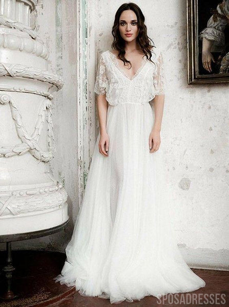 1/2 Long Sleeves Cheap Beach Wedding Dresses Online, Cheap Bridal Dresses, WD662