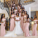 Blush Pink Off Shoulder Mismatched Mermaid Short Cheap Bridesmaid Dresses Online, WG658