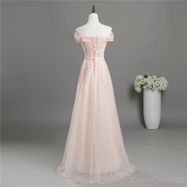 Pale Pink Off Shoulder Lace A-line Long Evening Prom Dresses, Cheap Sweet 16 Vestidos, 18352