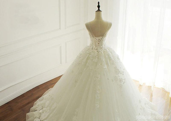 Luxurious Lace Beaded A line Wedding Bridal Dresses, Custom Made Wedding Dresses, Affordable Wedding Bridal Gowns, WD255