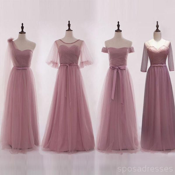 35ddf1d48b64 Mismatched Elegant Dusty Pink Soft Tulle Long Bridesmaid Dresses, Cheap  Custom Long Bridesmaid Dresses,