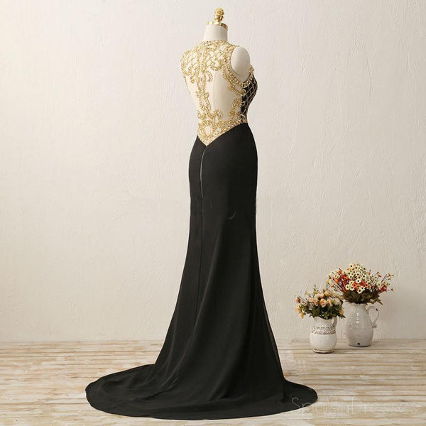 Long Black See Through Mermaid Gold Beaded Evening Prom Dress, Popular Sexy Party Prom Dresses, Custom Long Prom Dresses, Cheap Formal Prom Dresses, 17161