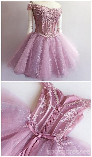 See Through Pink Lace Beaded Cute Homecoming Prom Dresses, Affordable Short Party Prom Sweet 16 Dresses, Perfect Homecoming Cocktail Dresses, CM347
