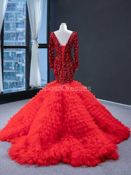 Red Long Sleeves Ruffles Mermaid Evening Prom Dresses, Evening Party Prom Dresses, 12236