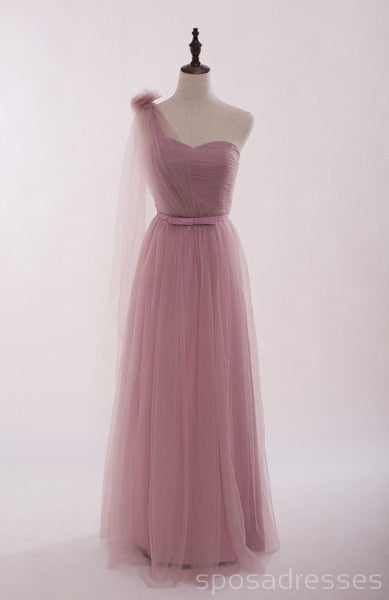 Mismatched Elegant Dusty Pink Soft Tulle Long Bridesmaid Dresses, Cheap Custom Long Bridesmaid Dresses, Affordable Bridesmaid Gowns, BD013