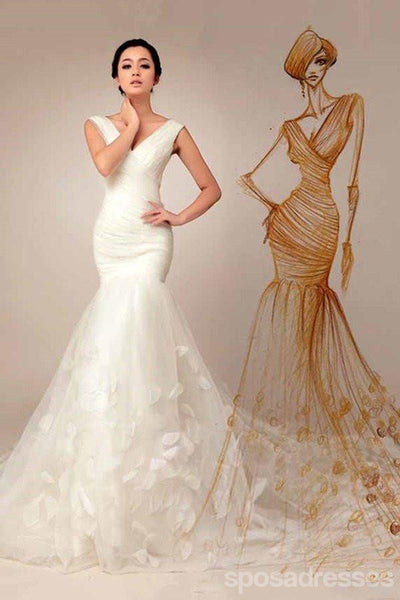 Off Shoulder Deep V Neckline Mermaid Wedding Dresses, Simple Long Custom Wedding Gowns, Affordable Bridal Dresses, 17094