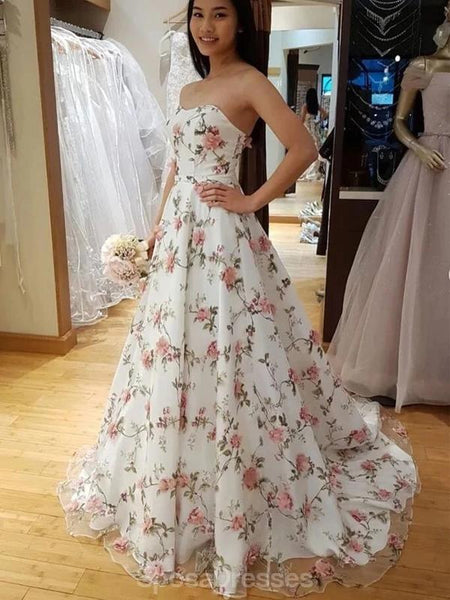 Sweetheart 3D Flower A-line Long Evening Prom Dresses, Evening Party Prom Dresses, 12337