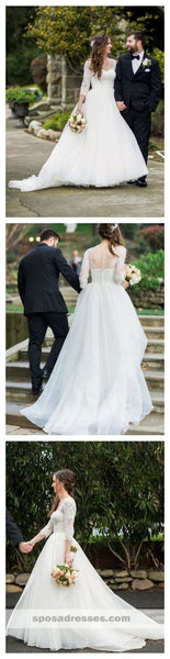 Long Sleeves Organza A-line Wedding Dresses Online, Cheap Simple Bridal Dresses, WD453