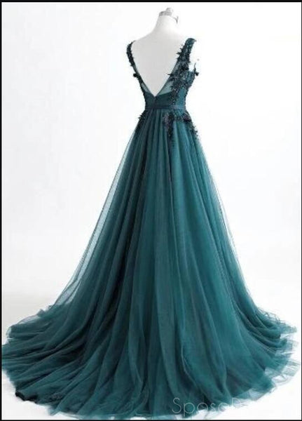 V Neck Dark Green Cheap Long Evening Prom Dresses, Sweet 16 Prom Dresses, 12378