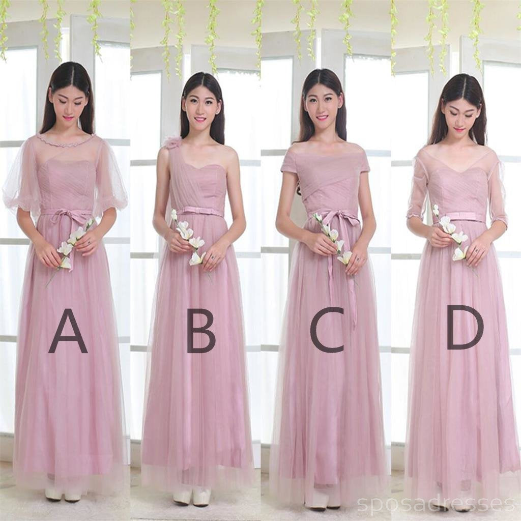 Mismatched elegant dusty pink soft tulle long bridesmaid dresses mismatched elegant dusty pink soft tulle long bridesmaid dresses cheap custom long bridesmaid dresses affordable bridesmaid gowns ombrellifo Image collections