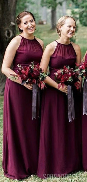 Halter Plum Chiffon Long Bridesmaid Dresses Online, Cheap Bridesmaids Dresses, WG743