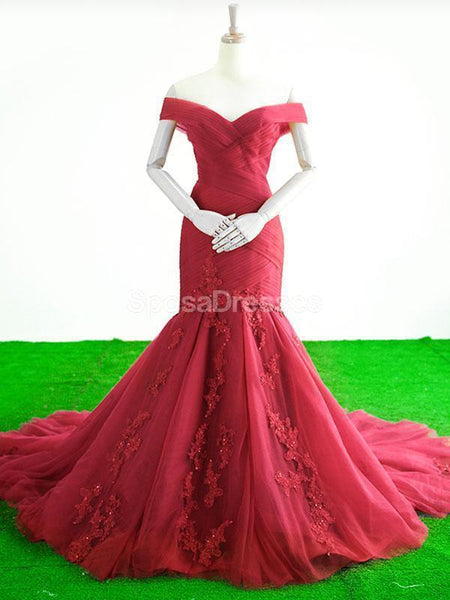 Off Shoulder Red Mermaid Evening Prom Dresses, Evening Party Prom Dresses, 12266