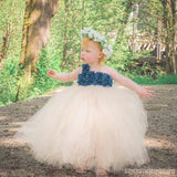 One Shoulder Blue flower Top Tulle Flower Girl Dresses, Lovely Tutu Dresses,  FG036