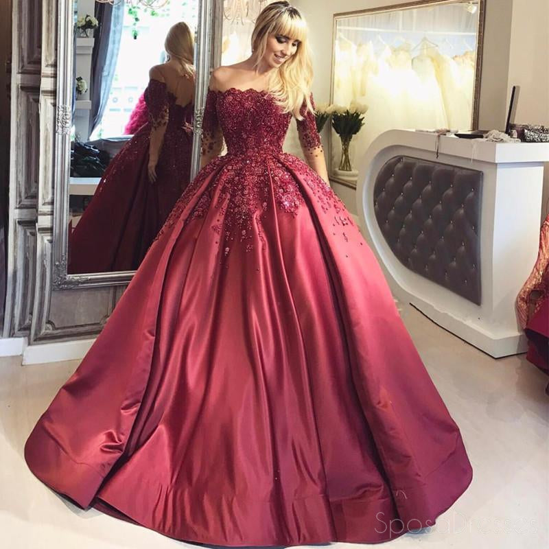 Off Shoulder 1/2 Long Sleeve A line Red Evening Prom Dresses, Popular 2018 Party Prom Dresses, Custom Long Prom Dresses, Cheap Formal Prom Dresses, 17211