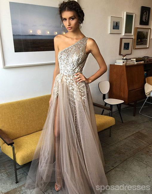 One Shoulder Sexy Side Slit Heavily Beaded Long Evening Prom Dresses, Popular Cheap Long 2018 Party Prom Dresses, 17270