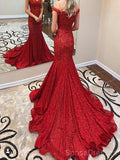 Off Shoulder Red Lace Mermaid Evening Prom Dresses, Cheap Custom Sweet 16 Dresses, 18489