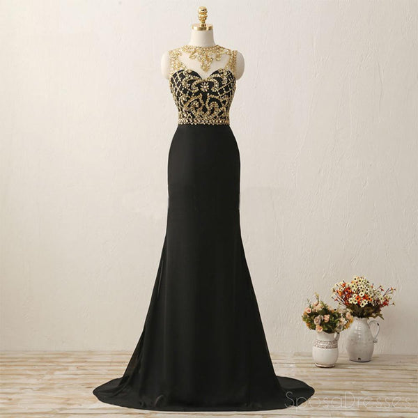 Sexy See Through Gold Heavily Beaded Black Evening Prom Dresses, Popular 2018 Party Prom Dresses, Custom Long Prom Dresses, Cheap Formal Prom Dresses, 17203