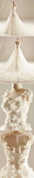 Round Neckline See Through Handmade Flower A line Wedding Dresses, Custom Made Wedding Dresses, Cheap Wedding Gowns, WD217