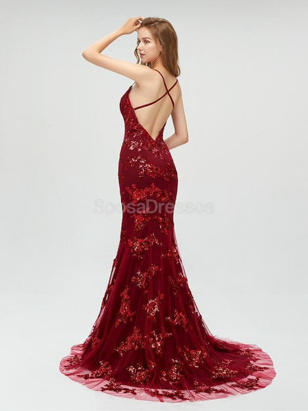 Sexy Maroon Straps Mermaid Sequin Cheap Evening Prom Dresses, Sweet 16 Dresses, 18301