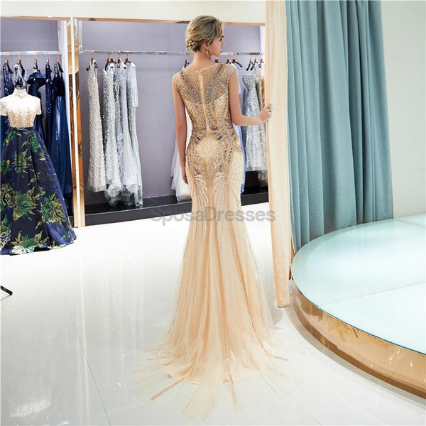Gold Rhinestone Jewel Heavily Beaded Mermaid Evening Prom Dresses, Evening Party Prom Dresses, 12040