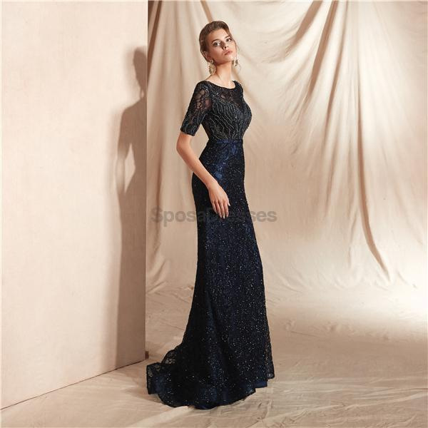 Navy 1/2 Long Sleeves Lace Beaded Mermaid Evening Prom Dresses, Evening Party Prom Dresses, 12073
