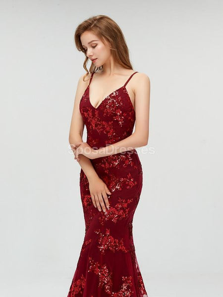 Sparkly Backless Red Sequin Mermaid Long Evening Prom Dresses, 17707
