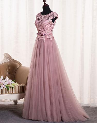 Dusty Pink Open Back Cap Sleeve Custom Long Evening Prom Dresses, 17722