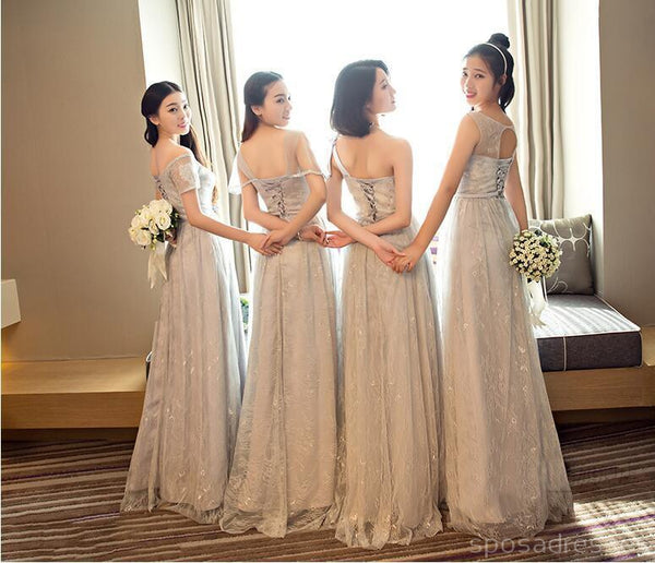Mismatched Elegant Gray Lace Soft Tulle Long Bridesmaid Dresses, Cheap Custom Long Bridesmaid Dresses, Affordable Bridesmaid Gowns, BD014