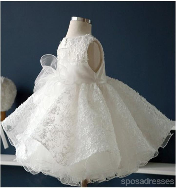 Scoop Sleeveless Lace Tulle Flower Girl Dresses, Cheap Popular Little Girl Dresses for Wedding,  FG037