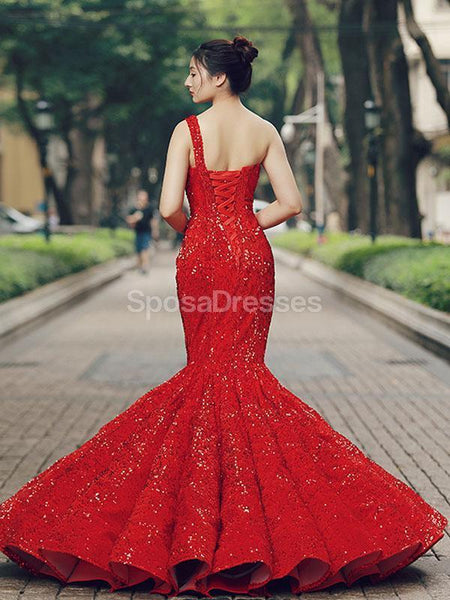 One Shoulder Red Sequin Mermaid Evening Prom Dresses, Evening Party Prom Dresses, 12267