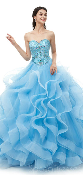 Sweetheart Blue Heavy Beaded Quinceanera Dresses, Evening Party Prom Dresses, 12099