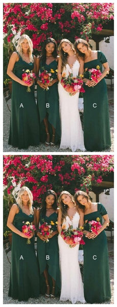Mismatched Emerald Green Cheap Long Cheap Bridesmaid Dresses Online, WG624