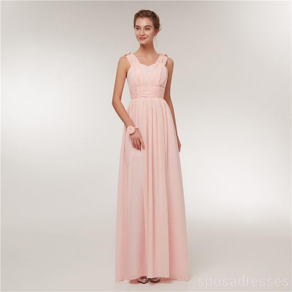 Chiffon Blush Pink Floor Length Mismatched Simple Cheap Bridesmaid Dresses Online, WG520