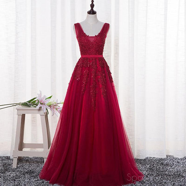 Sexy Backless Dark Red Lace Long Evening Prom Dresses, Popular 2018 Party Prom Dresses, Custom Long Prom Dresses, Cheap Formal Prom Dresses, 17212