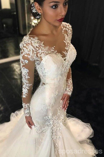 Long Sleeve Lace Mermaid Wedding Dresses,  See Through Long Custom Wedding Gowns,17101