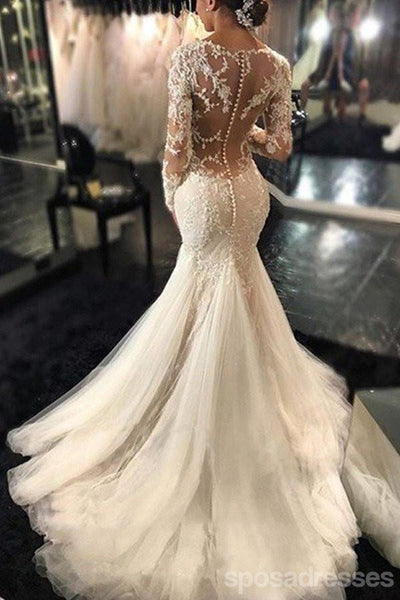 Long sleeve lace mermaid wedding dresses sexy see through long long sleeve lace mermaid wedding dresses sexy see through long custom wedding gowns affordable junglespirit Gallery