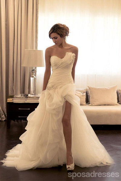 Strapless Side Split A line Wedding Dresses,  Organza Long Custom Wedding Gowns, Affordable Bridal Dresses, 17107