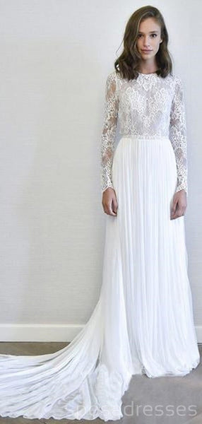 Long Sleeves Lace Chiffon Cheap Wedding Dresses Online, Cheap Bridal Dresses, WD492