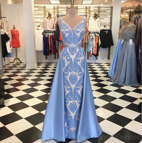 Blue Embroidery Lace Mermaid Long Evening Prom Dresses, Popular Cheap Long 2018 Party Prom Dresses, 17293