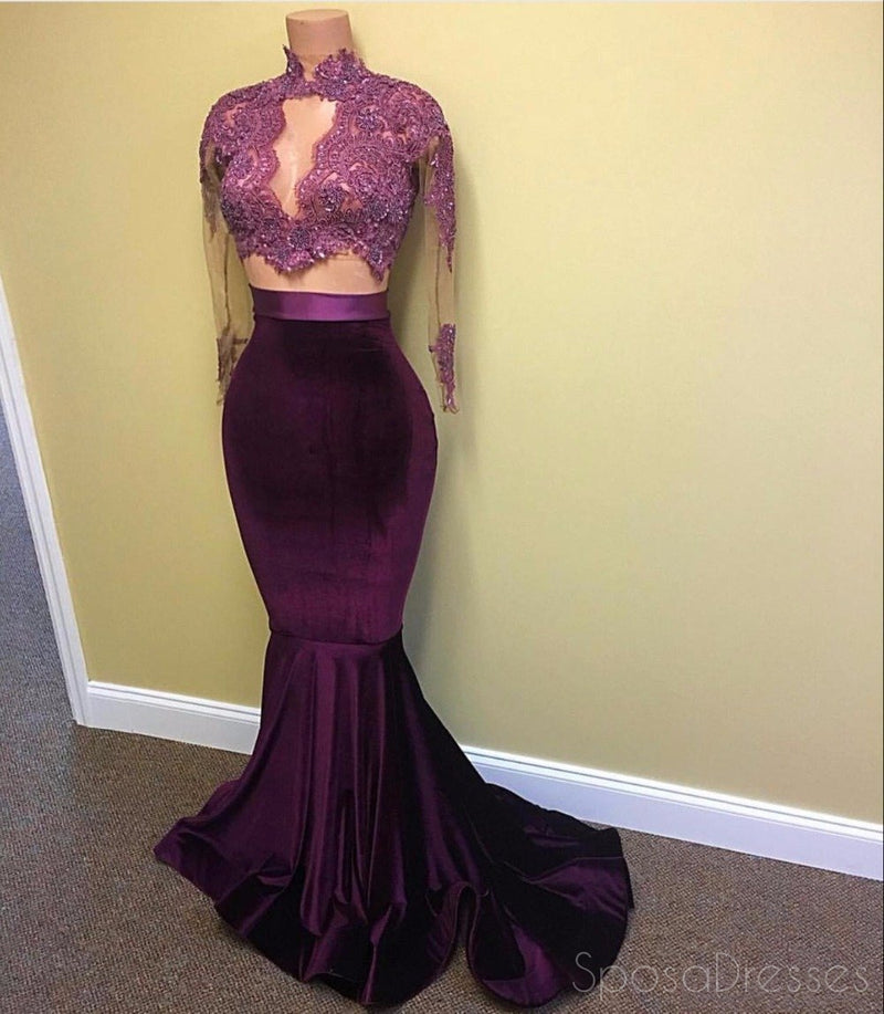Sexy Two Pieces Long Sleeve See Through Lace Beaded Evening Prom Dresses, Popular Purple Party Prom Dress, Custom Long Prom Dresses, Cheap Formal Prom Dresses, 17162