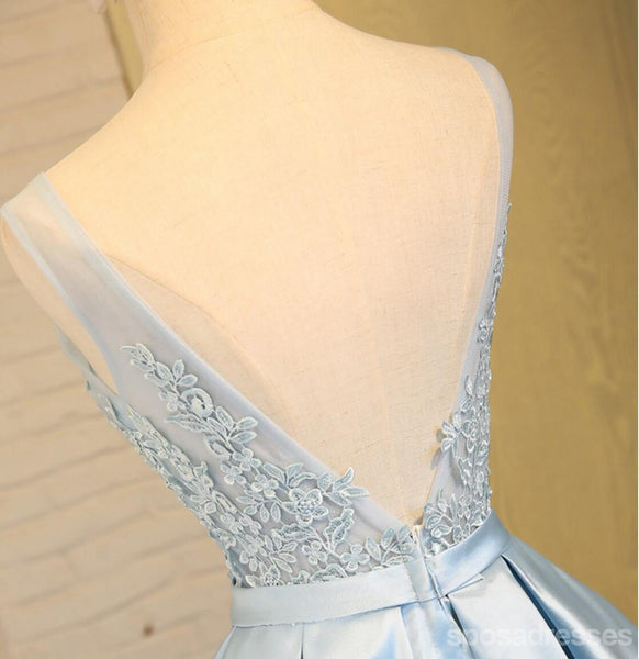 Scoop Neckline Two Straps Blue Lace See Through Homecoming Prom Dresses, Affordable Short Party Prom Dresses, Perfect Homecoming Dresses, CM290